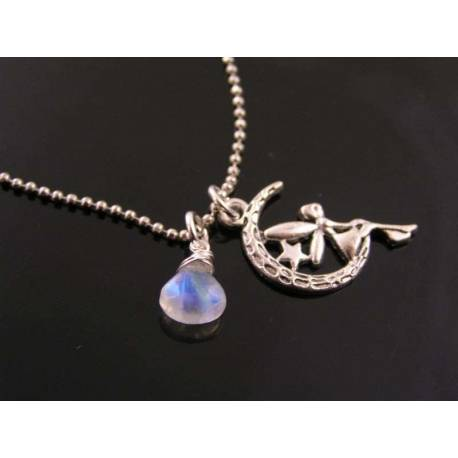 Fairy in Moon Charm and Moonstone Necklace
