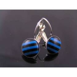 Blue and Black Striped Cabochon Earrings