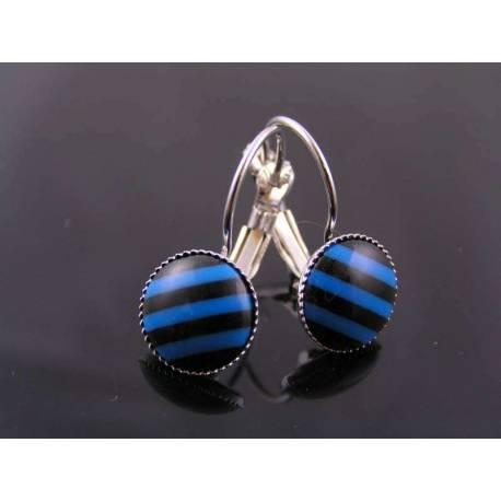 Blue and Black Sleeper Earrings
