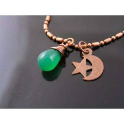 Crescent Moon Necklace with Green Onyx