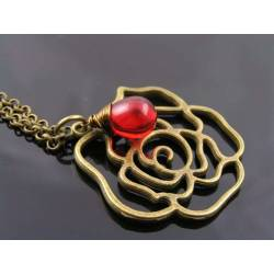 Rose Necklace with Red Drop, Long Chain, Gift Idea