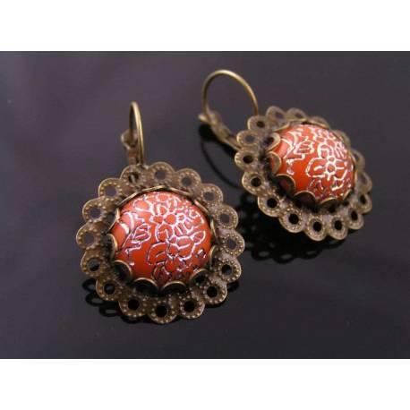 Ornate Vintage Filigree Earrings, Choose your Colour