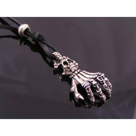 Skeleton Hand and Skull Leather Necklace