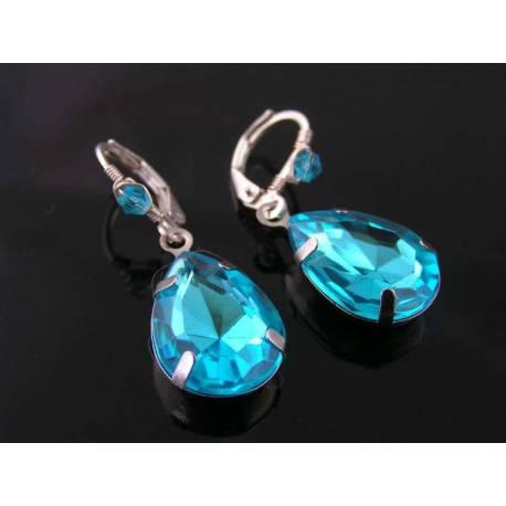 Large Aqua Teardrop Earrings, Wire Wrapped Dangle Earrings