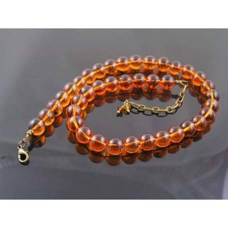 Cognac Amber Glass Necklace, Black Sprinkles