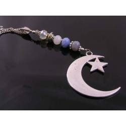 Long Necklace with Star and Moon Pendant