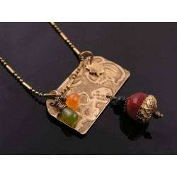Embossed Woodland Necklace with Vesuvianite, Carnelian, Agate