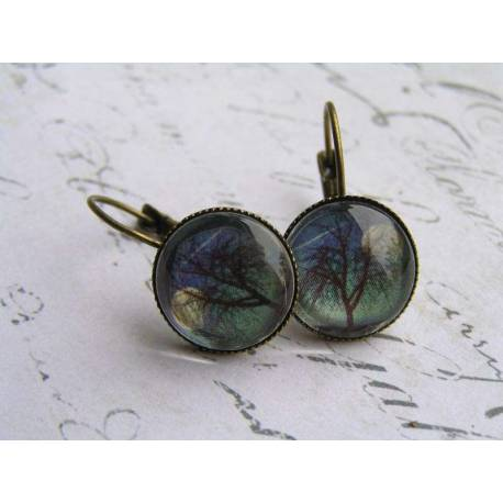 Tree and Moon, Cabochon Sleeper Earrings