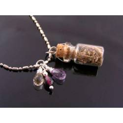Glass Bottle Necklace with Vervain, Amethyst and Citrine
