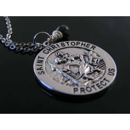 St Christopher Medan Necklace with Birthstone