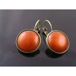 Vintage German Cabochon Sleeper Earrings, Copper Orange