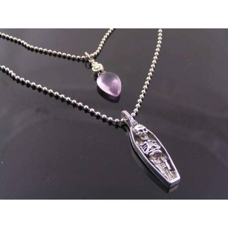 Gothic Necklace Set with Skeleton and Amethyst