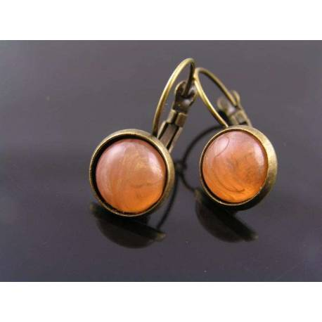 Peach and Gold Cabochon Earrings