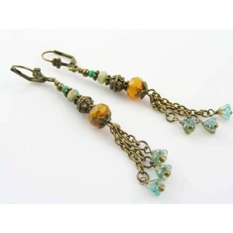 Czech Bead and Flower Earrings, Boho Style