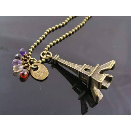 Large Eiffel Tower Necklace with Gemstones