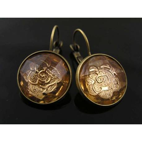 Sleeper Style Earrings with Topaz Rose Inset