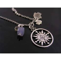 Compass Necklace with Fish Charms, Iolite and Citrine