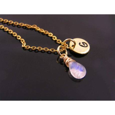 Bright Gold Initial Necklace with Rainbow Moonstone