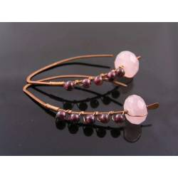 Wire Wrapped Rose Quartz and Garnet Earrings, Copper