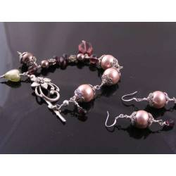 Glass Pearl and Bead Bracelet and Earrings