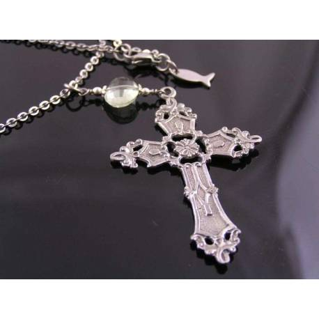 Ornate Cross and Prasiolite Nugget Necklace