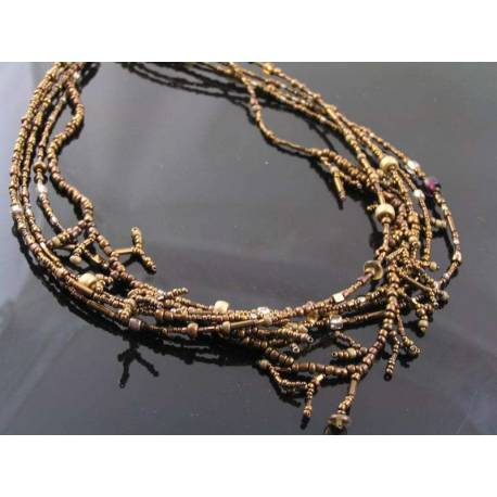 4 Strand Hand Woven Seed Bead Necklace