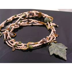 Four Strand Serpentine Bead and Carved Leaf Necklace, Seed Beads