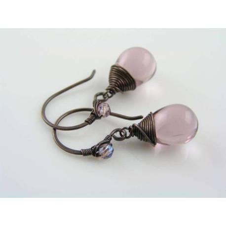 Pale Purple Czech Teardrop Earrings
