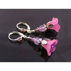 Pink and Purple Lucite Flower Earrings