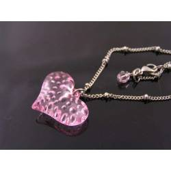 Pink Heart Necklace, Cute Gift Idea