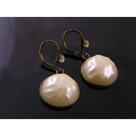 Wrinkly Champagne Pearl Earrings