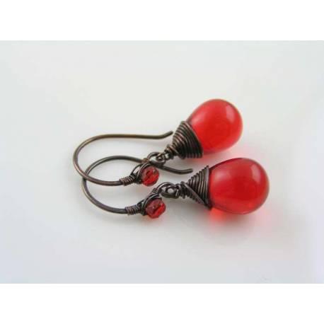 Wire Wrapped Earrings, Bright Red Czech Teardrops