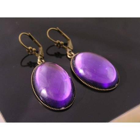 Large Purple Drop Earrings