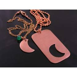 Solid Copper Dog Tag and Moon Couple Necklace