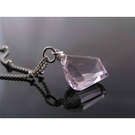 Pink Amethyst Nugget, Single Stone Necklace