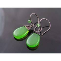 Mint Green Opal Czech Glass Drop Earrings