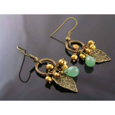 Golden Freshwater Pearl and Green Aventurine Earrings