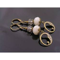 Pale Crystal and Moon Earrings