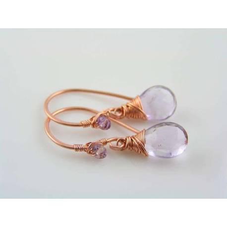 Pink Amethyst Earrings, February Birthstone