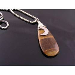 Tigers Eye and Moon Charm Necklace