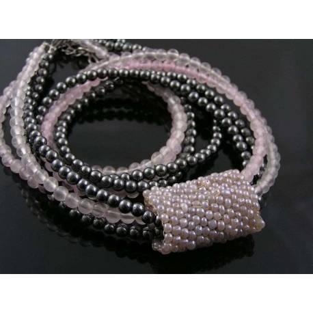 Four Strand Necklace, Hematite and Rose Quartz