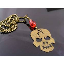 Large Skull Necklace with Blood-Red Drop