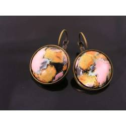 Baroque Cabochon Sleeper Earrings