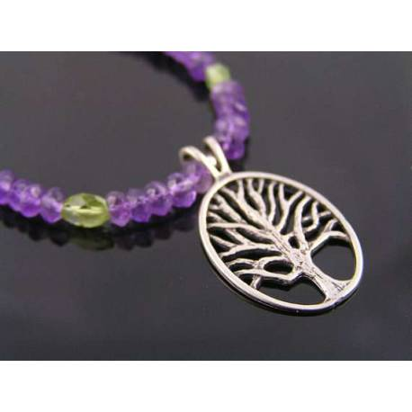 Tree of Life Necklace with Amethyst and Peridot, Sterling Silver