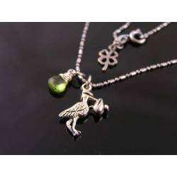 Stork Charm and Birthstone Necklace