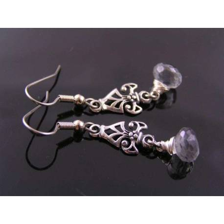 Silver Grey Quartz Earrings