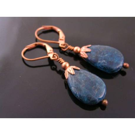 Apatite Earrings, Solid Copper