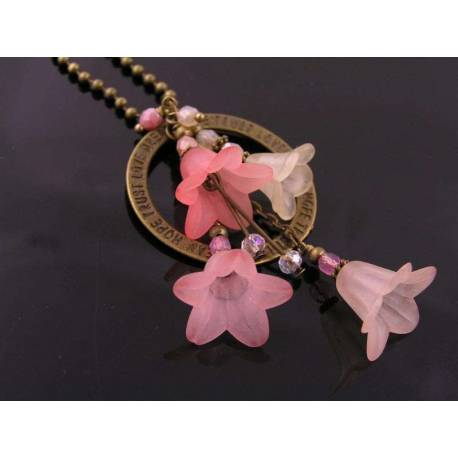 Inspirational Flower Pendant Necklace