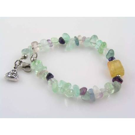 Fluorite Bracelet, Buddha Charm, Yoga Jewellery