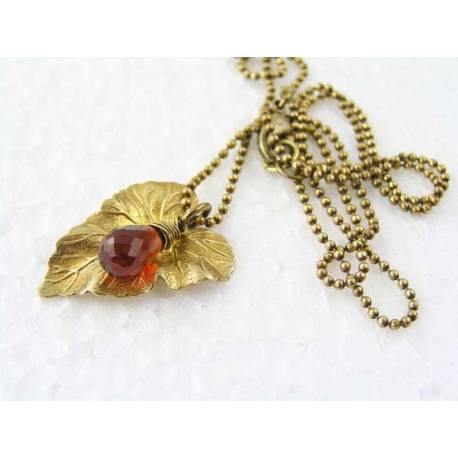 Red Agate Leaf Necklace